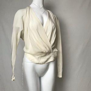 My vintage Robert Rodriguez white draped blouse